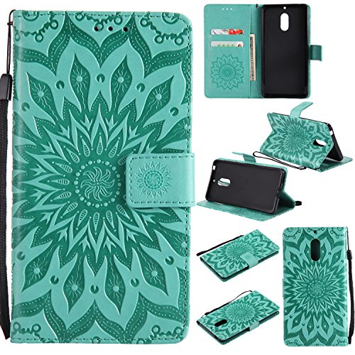 - Aslim Nokia 6 Case,Luxury Floral Sun Flower Pattern Embossed PU Leather Wallet Flip Protective Case Cover with Card Slots and Stand for Nokia 6 - Green