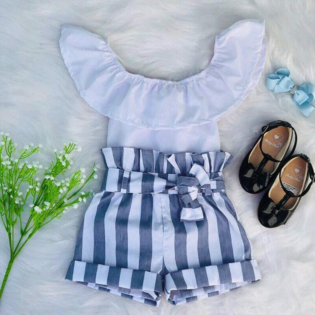 Baby Girl Off-Shoulder Sets, Kids Crop Top Ruffle Shirt Tops +Leopard Striped Shorts Pants Clothes Set (2-3 Years, Blue) by Hopwin Baby girls Suits (Image #4)