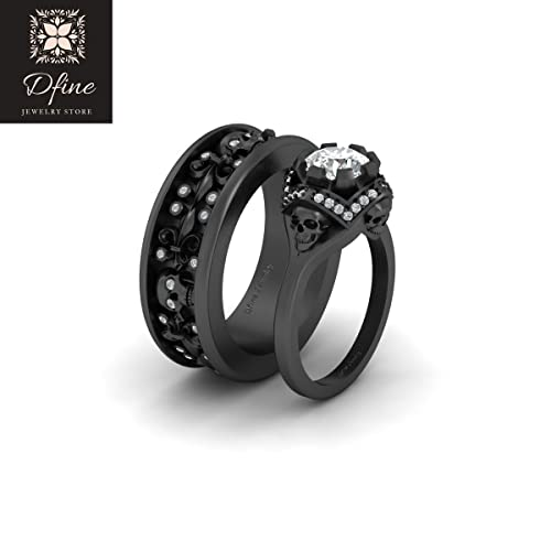 Gothic Wedding Rings.Diamond Skull Engagement Ring Gothic Wedding Band Couple Set