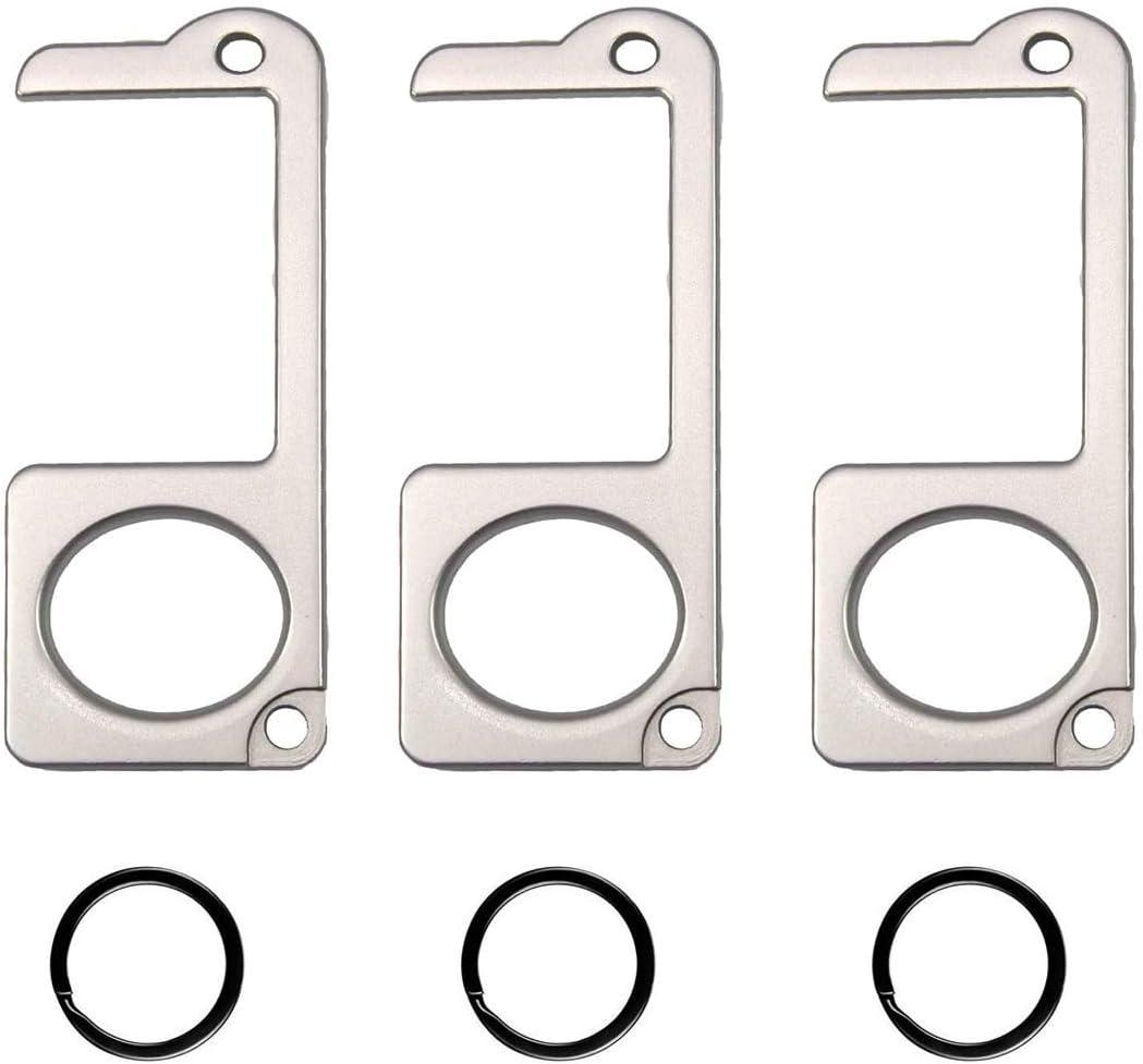 3PCS NEW Door Opener Tool No Touch AnSaw Handheld Zinc alloy EDC Keychain Tool 3, Golden Non-Contact Key Door Opener /& Closer Contactless Safety Door Opener