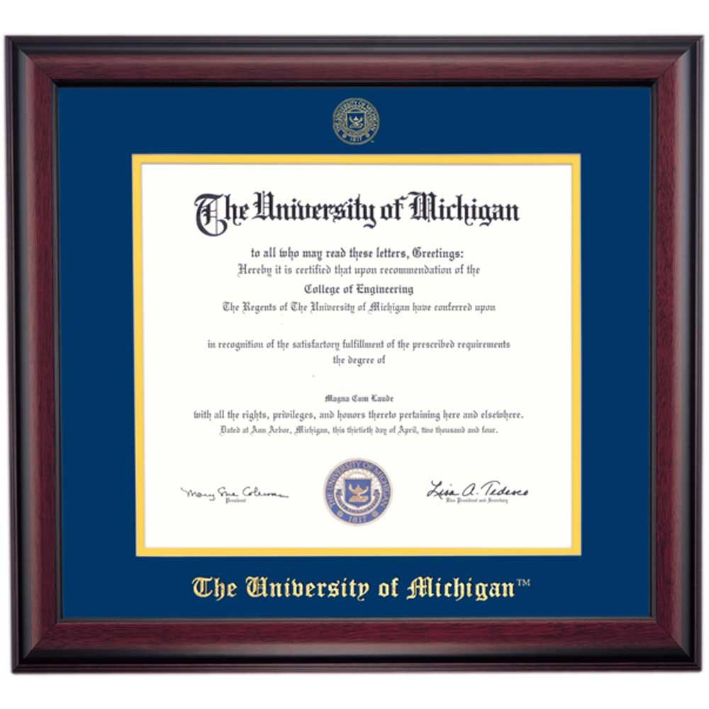 Amazon.com - Michigan Wolverines Diploma Frame for PhD Blue Maize ...