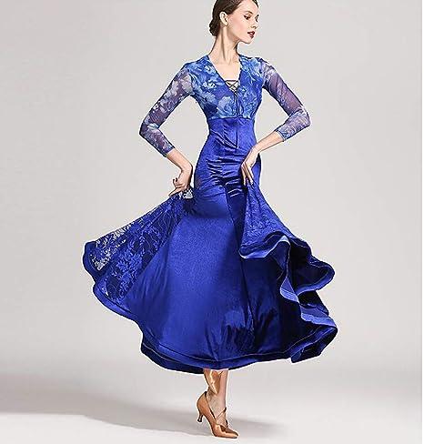 ZTXY Mujeres Danza clásica Vestido Floral Impresiones Azul ...