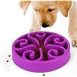 Slow Feeder Dog Bowl, Non Slip Puzzle Bowl Fun Feeder Interactive Bloat Stop Dog Bowl, Eco-Friendly Durable Non-Toxic Dog Food Bowl (Purple)