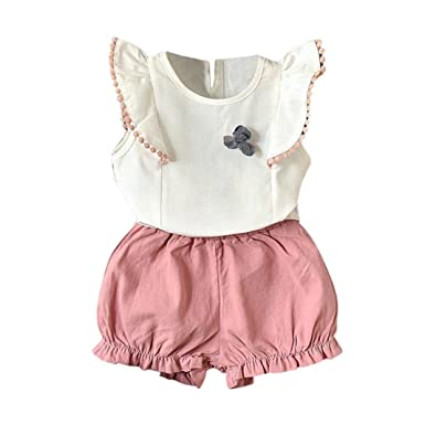UK Toddler Baby Girl Clothes Ruffle Floral T-Shirt Tops Shorts Summer Outfit Set
