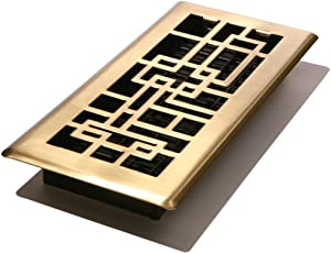 Decor Grates ABH412-SB Abstract Floor Register, Satin Brass Finish, 4-Inch by 12-Inch