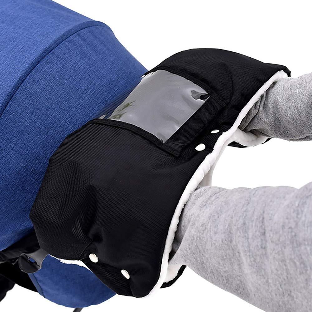 Universal BOZZ Handmuff//Handwarmer for Pushchair Black with Black Faux Fur