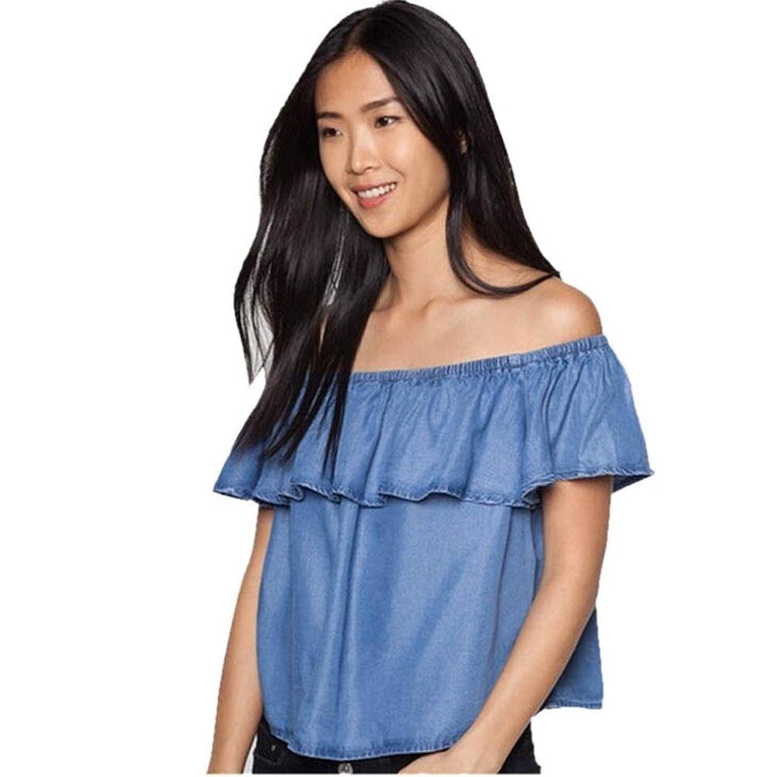 Kwok Women's Off Shoulder Blouse Short Sleeve Denim Shirt Top