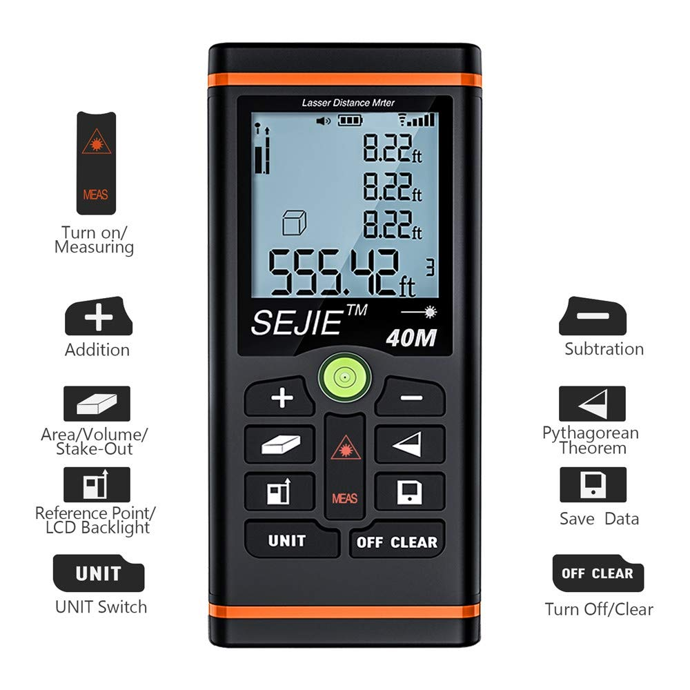 EALNK Laser Measure 131Ft M//in//Ft Laser Distance Meter with Backlit LCD and Pythagorean Mode Carry Pouch EALNK-Q17 Area and Volume Measure Distance