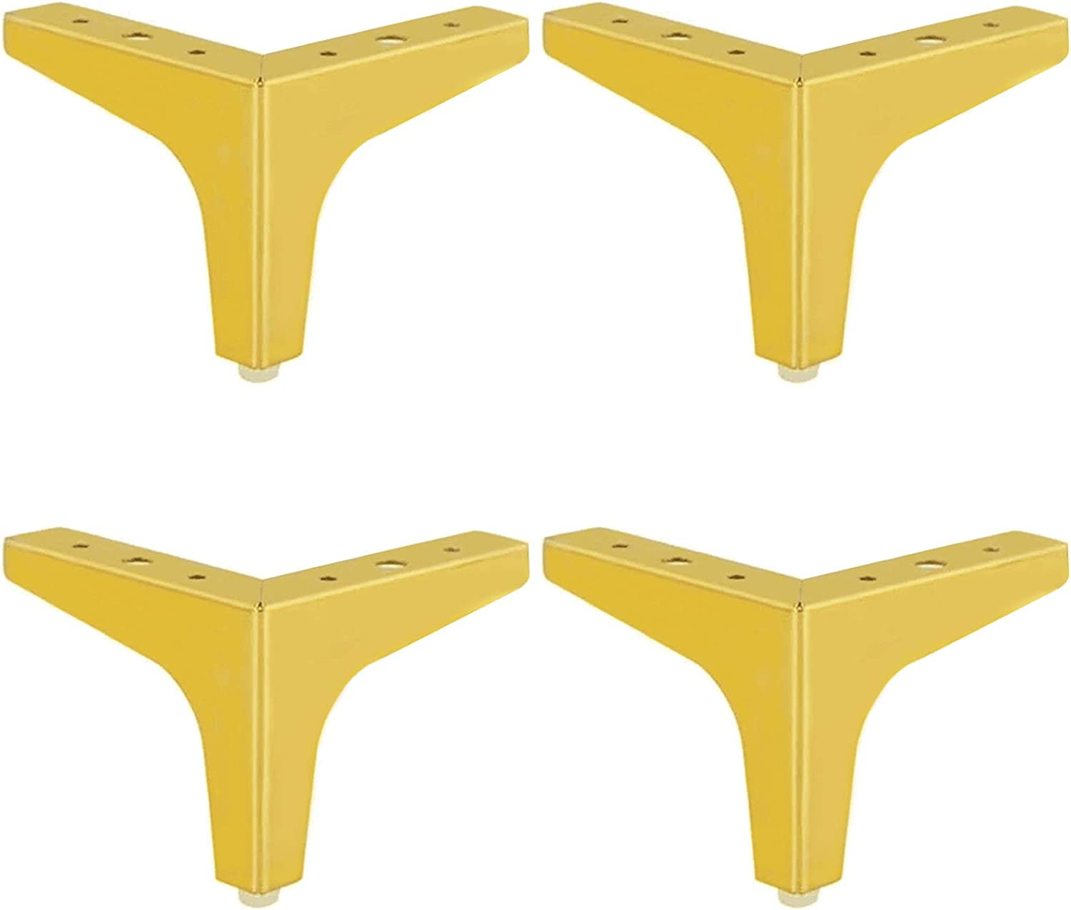 """Gold Furniture Legs - 4"""" Iron Sofa Legs Heavy Duty Triangle Cabinet Feet - Verified Lab Test Supports + 1000 pounds - 4 Piece Set"""