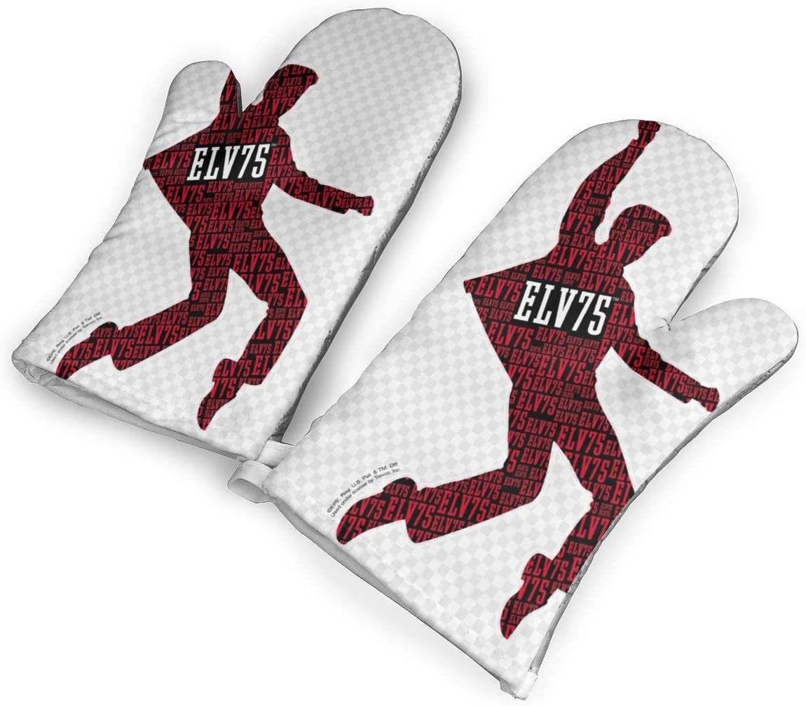 White Elvis Heat Resistant Oven Gloves,Non-Slip Easy to Use Oven Mitts for Cooking