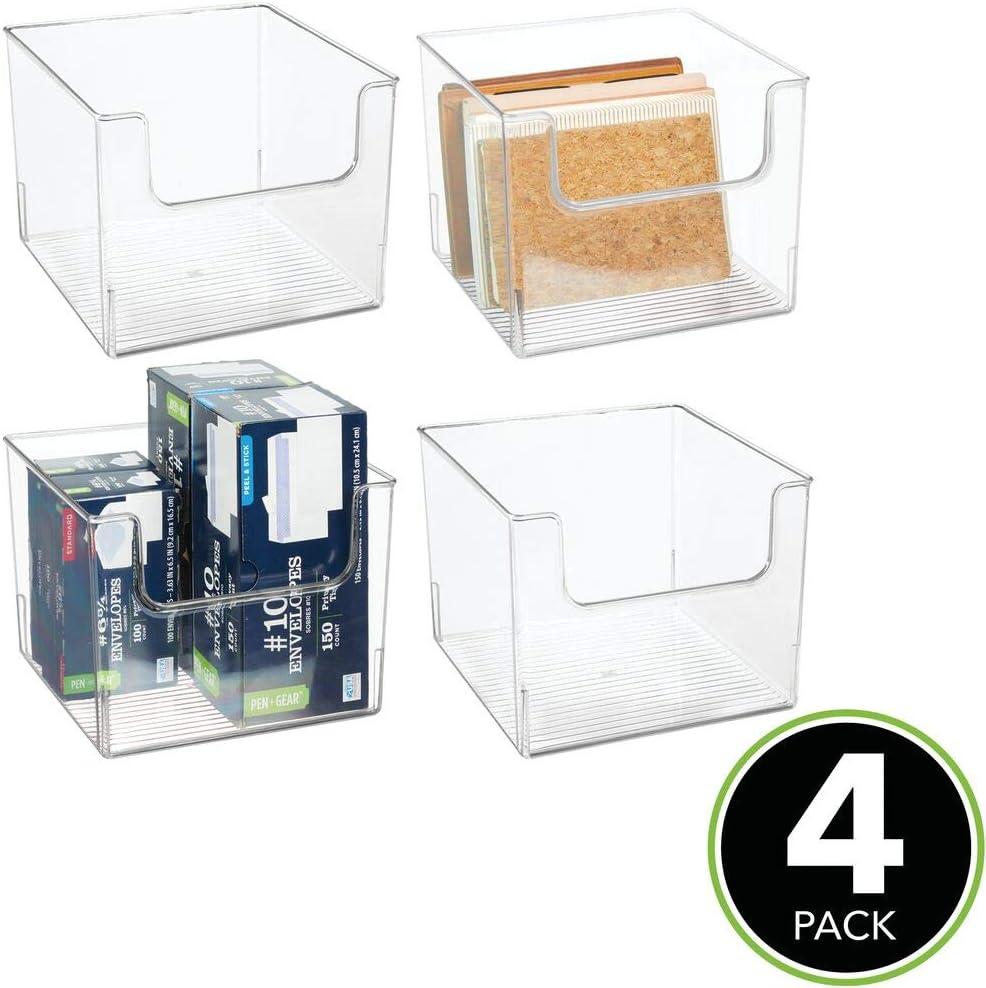 Aufbewahrungsbox mit je 4 F/ächern f/ür Malutensilien Garn mDesign 4er-Set Organizer Kleber die ideale N/ähbox Scheren Wolle Pinsel etc durchsichtig