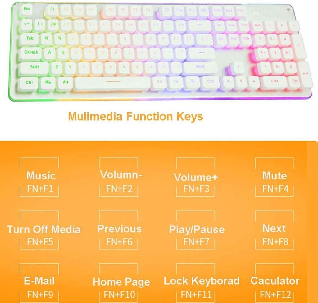 HourenJP Punk Retro Keyboard Wired Game Silent Mechanical Feel USB Desktop Computer Notebook External Keyboard Chocolate Keycaps Orange Backlight Office