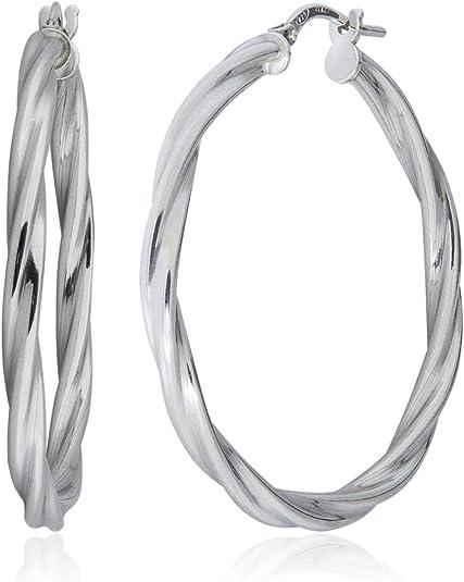 Mia Diamonds 14k White Gold Polished Endless Tube Hoop Earrings