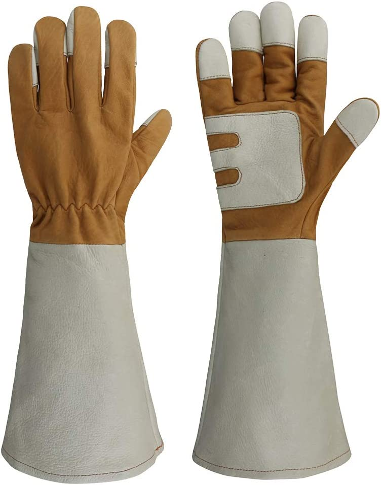 OLSON DEEPAK Womens Gardening Gloves with goatskin Leather for Yard Work, Rose Pruning and Daily Work perfect fitting for women, Long Cuff Rose Garden Gloves with pigskin palms