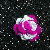 Brand Handmade CrochetWoolen Applique Rose Flower Design Magenta And White 15 PCS For Girls