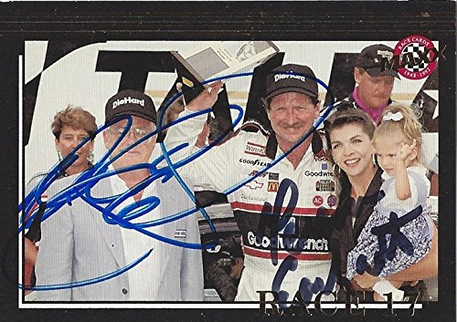 Sr Race Earnhardt Dale (2X AUTOGRAPHED 1992 Dale Earnhardt Sr. & Teresa Earnhardt #3 Goodwrench Racing RACE 17 TALLADEGA WIN (Diehard 500) Victory Lane with Family Signed Collectible NASCAR Trading Card with COA)