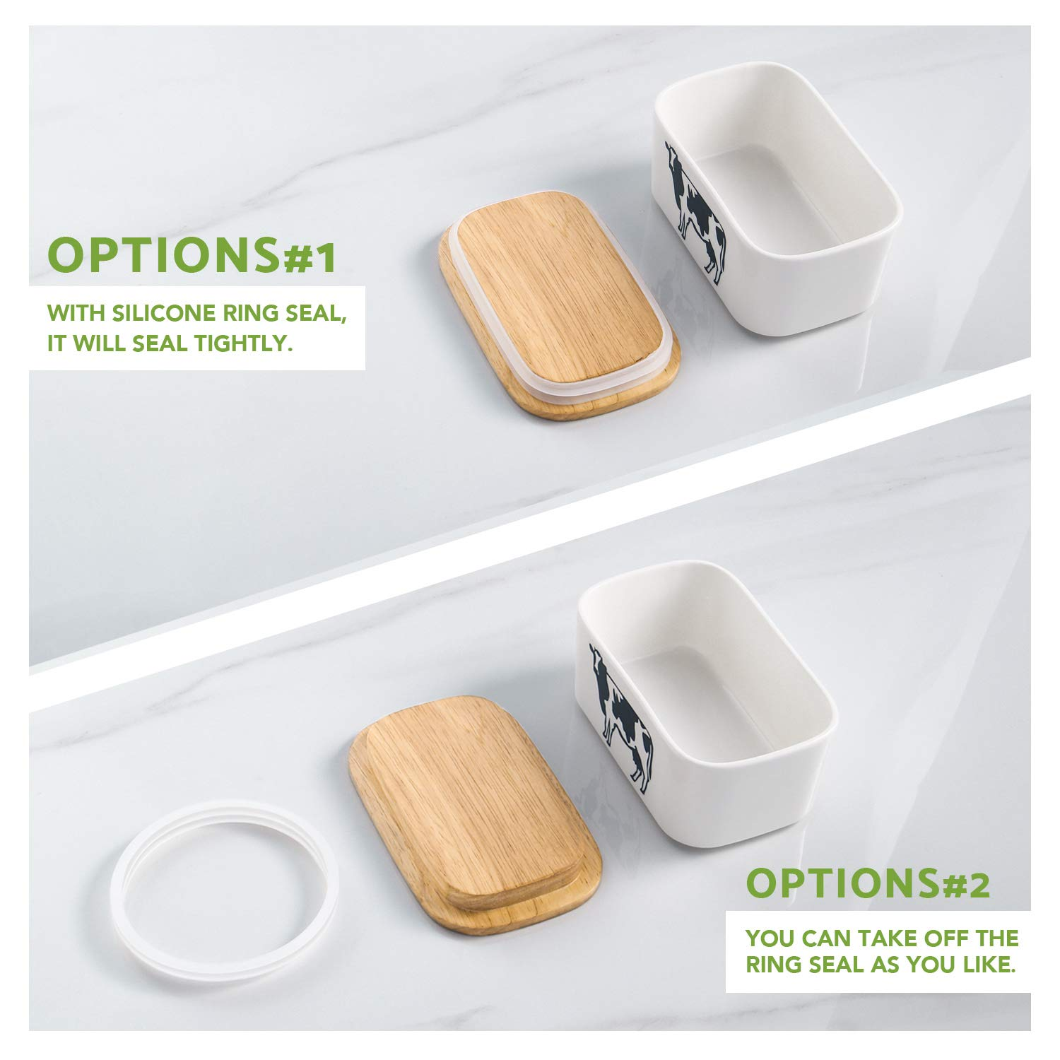 DOWAN Porcelain Butter Dish - Airtight Butter Keeper With Wooden Lid To Keep Butter Fresh - Large Butter Container Holds Up to 2 Sticks of Butter by DOWAN (Image #5)
