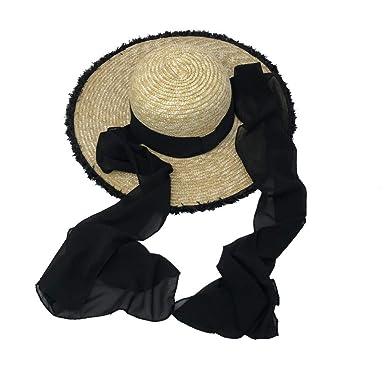 Ameginer Sombrero de Paja Elegante Corbata Negra, sombrilla de ...