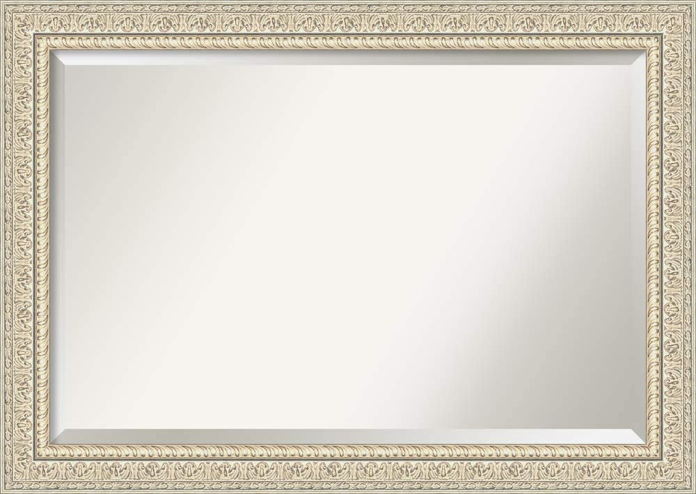Amanti Art Framed Vanity Mirror   Bathroom Mirrors for Wall   Fair Baroque Cream Mirror Frame   Solid Wood Mirror   Large Mirror   29.38 x 41.38 in.