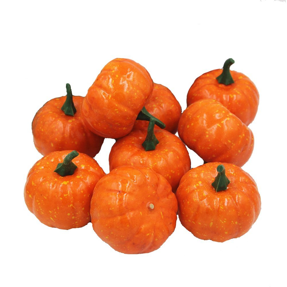 Ehdching Pack of 16 Artificial Realistic Fall Harvest Mini Pumpkins for Halloween Home Decoration