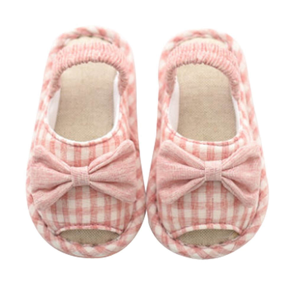 Cattior Toddler Cute Kids Slippers House Shoes Open Toe (6.5 M, Pink)