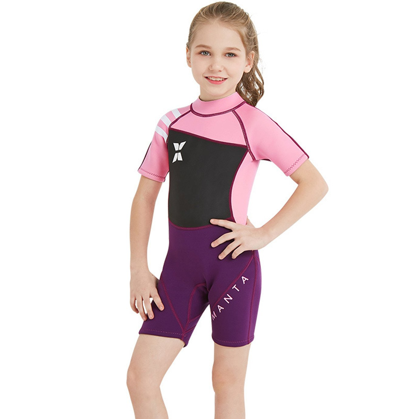 DIVE& SAIL Little Girls 2.5mm Wetsuit Short Sleeve One Piece UV Protection Thermal Swimsuit