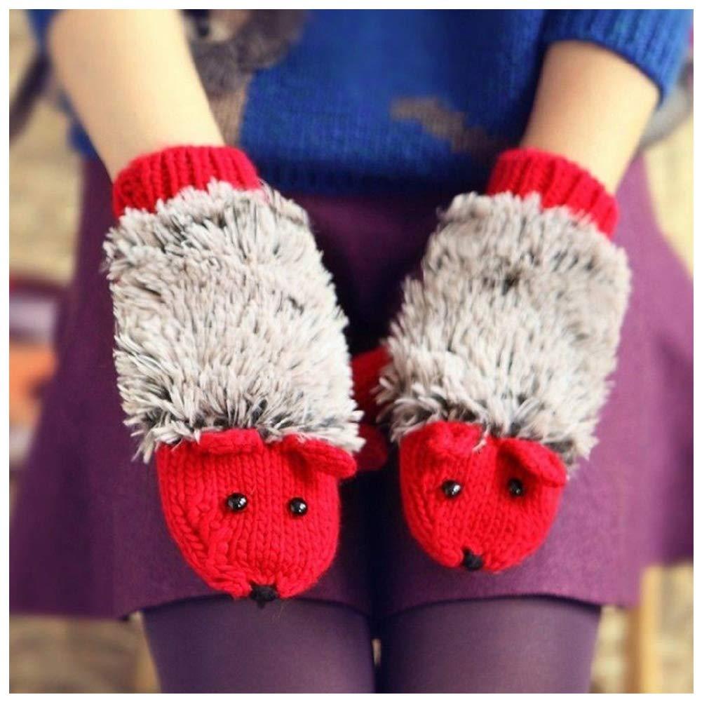 Doitsa 1 Pair Cute Hedgehog Knitted Gloves Winter Warm Outdoor Sports Mittens for Boys, Girls, Children, Student, Cotton, white, M
