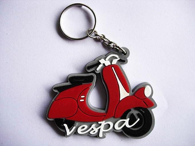 Llavero de moto Vespa, Italia, color rojo, de goma