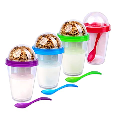 Schramm® 4 Stück Joghurtbecher to go Müsli-to-Go 4- farbig Sortiert Müslibecher inkl. Löffel Müslischale Joghurt Becher Müsli
