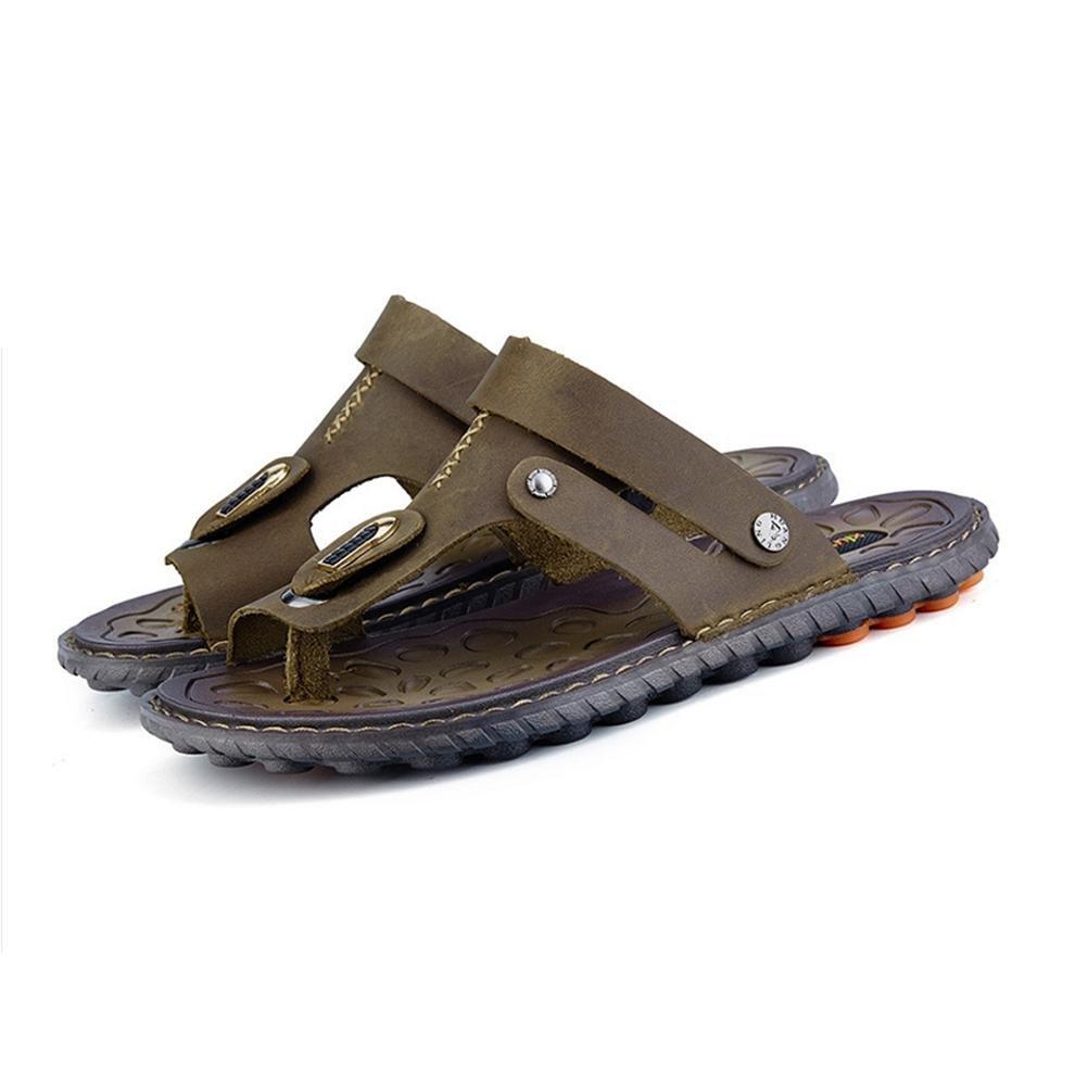 Herren Erwachsene Leder Sandalen Gemütlich zu Tragen Dauerhaft und Rutschfest Strand Flip Flops Sommer Sport Freizeit Waten Schuhe Dark brown