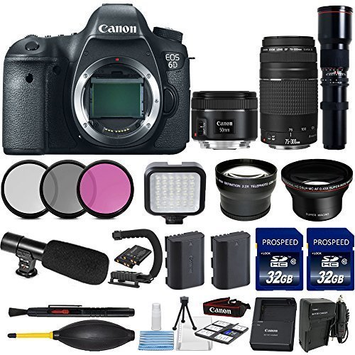 Canon EOS 6D 20.2MP Full Frame DSLR with Canon EF 50mm f/1.8 STM Lens + Canon 75-300mm Zoom Lens + 500mm Preset Telephoto Lens + 2pc Commander 32GB Memory Cards + LED Light Bundle