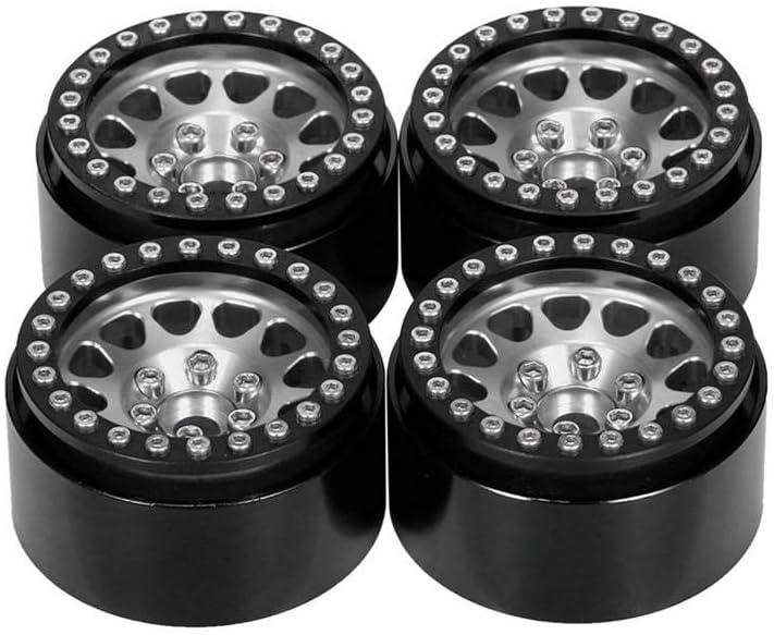 Alician 4Pcs 1.9 Inch RC Car Wheel Hub Rims for 1/10 RC Crawler Axial SCX10 SCX10 II 90046 TRX4 D90 Black orange Black silver 1cCKespP