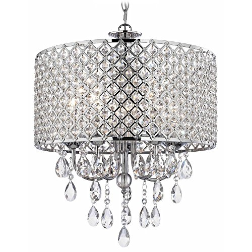 Crystal Chrome Chandelier Pendant Light with Crystal Beaded Drum Shade Ashford Drum