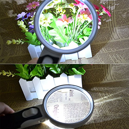 Kadaon LED Light Magnifier Set, 3 Illuminated Lens 2.5X 5X 16X High Magnification Magnifying Glass for Seniors, Kids & Computers, Low Vision Aid for Reading, Jewelery Loupe & Macular Degeneration by Kadaon (Image #4)
