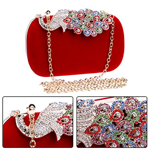 Evening Chain Wallet Wedding Ladies Dress Shoulder Bags Clutch Peacock Womens Red Bags Purse rFrTx