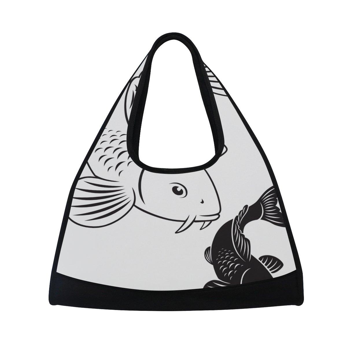 Sport Gym Bag Black And White Koi Fish Canvas Travel Duffel Bag
