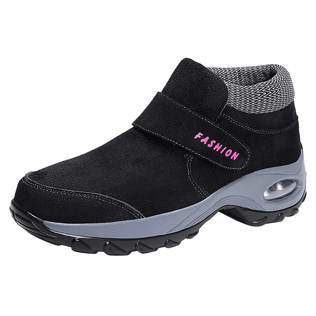 Women's Fur Lined Winter Snow Boots Walking Outdoor Tennis Shoes Slip On Platform Air Sneakers (US:8.5, Black)
