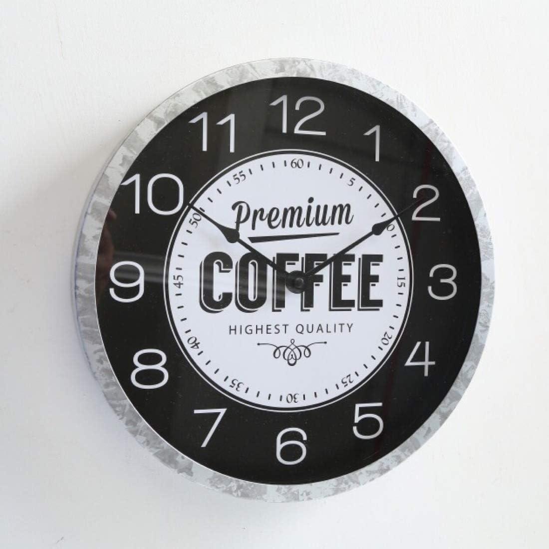 B.H.C. Reloj de pared redondo grande en estilo vintage, modelo: café premium, material hierro y madera, diámetro 30 cm, color blanco y negro.