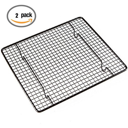 Nonstick Cooling Rack, 9 By 10-Inch Chrome-Plated Cool Grid For Cookies Pies Biscuit Cakes Cupcake Bread Barbecue Pizza Snacks, Pack of 2 Yosoo