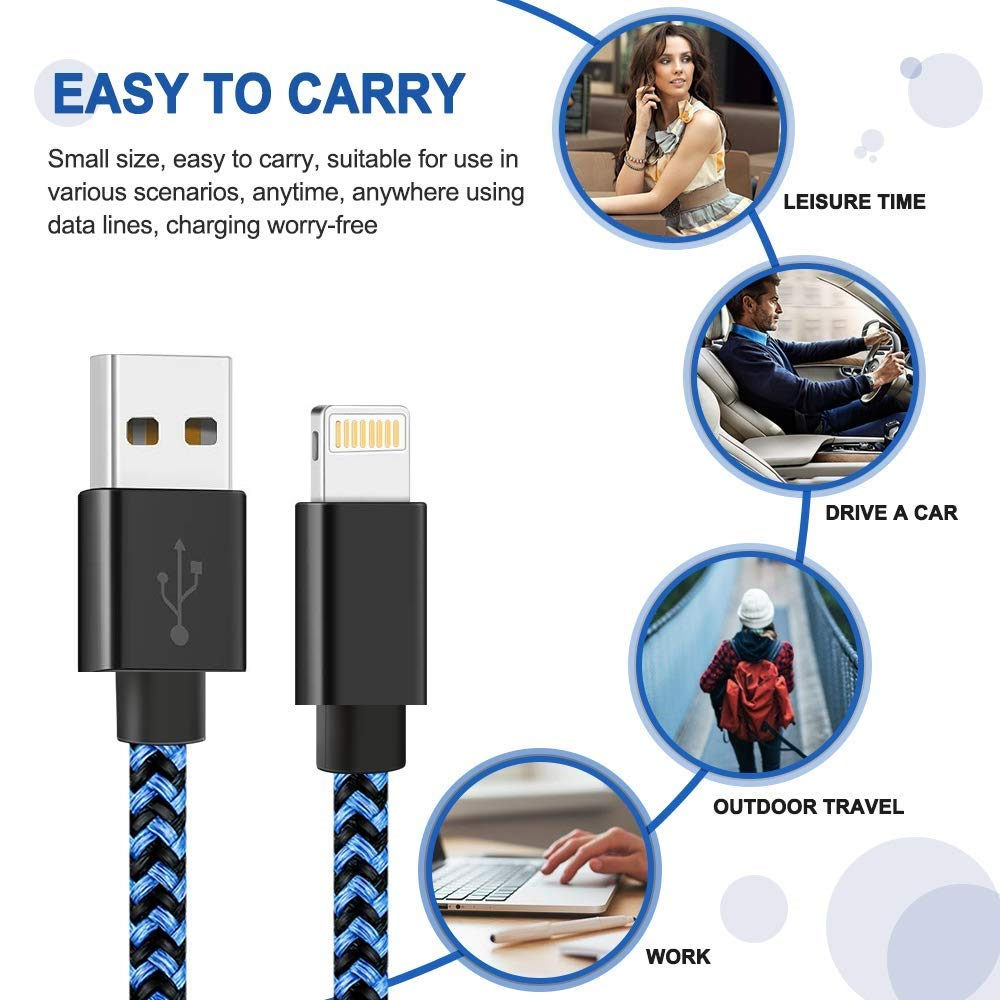 Blue Black Phone Charger Cable 5 Pcs 3FT//6FT//6FT//10FT//10FT Nylon Braided USB Charging/&Syncing Cord Cell-Phone Charging Cable Compatible XS//Max//XR//X//8 Plus//8//7//7Plus//6s P//6//6P//Pad