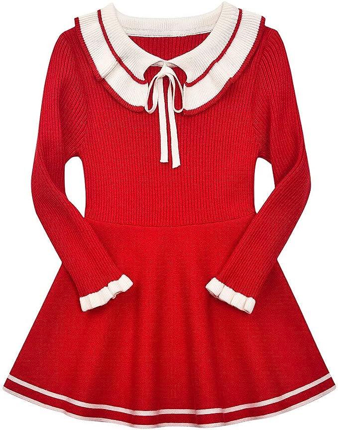 60s 70s Kids Costumes & Clothing Girls & Boys SMILING PINKER Toddler Girls Dresses Sweater Long Sleeve Winter Knitted Skater Dress Ruffle Collar $24.79 AT vintagedancer.com