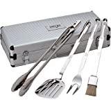 All-Clad T147 Stainless Steel Tongs Spatula Fork and Brush BBQ Tools Cookware Set, 4-Piece, Silver