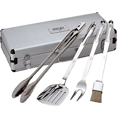 All-Clad T147 Stainless Steel BBQ Tool Cookware Set, 4-Piece, Silver - 8700800667