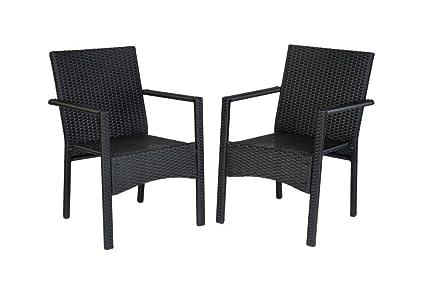 Amazon.com: Conjunto de 2 sillones de ratán para interiores ...