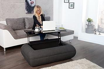 Design Couchtisch LIVING Anthrazit 120cm Ausfahrbare Tischplatte Staufach