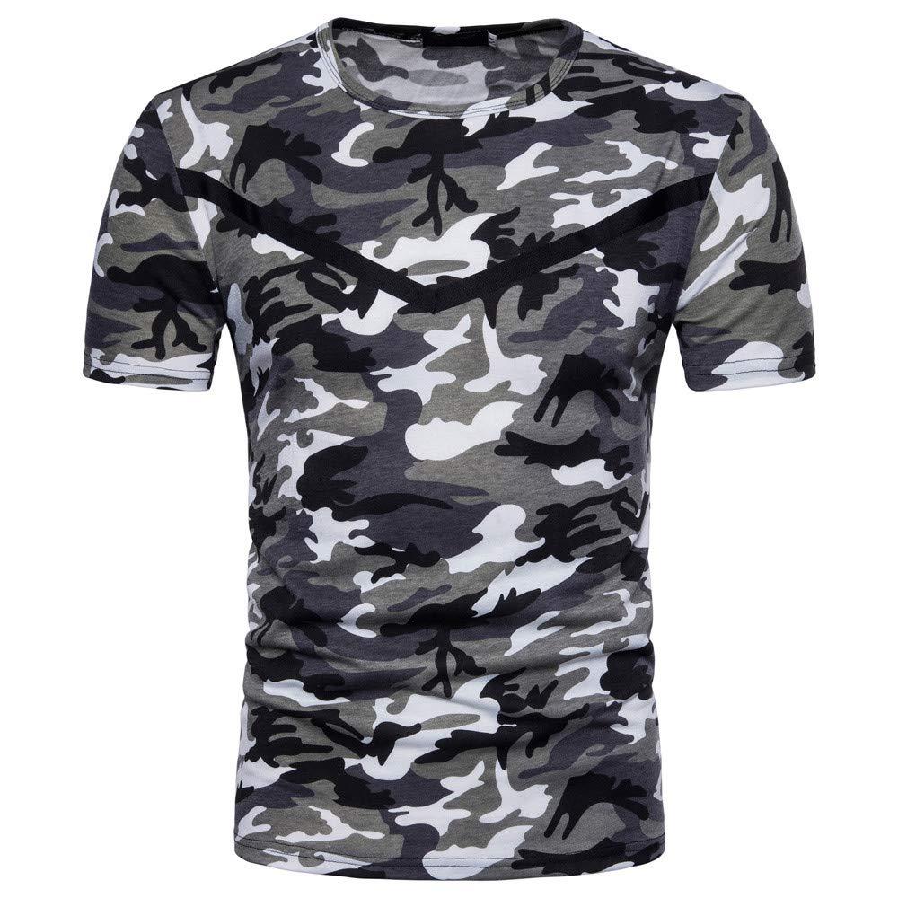 feiXIANG Sport Shirt Herren Top Camouflage Print Kurzes Casual Fitness Sweatshirt Blusen Sportbekleidung