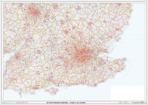 S E England Map.Se England Districts Postcode District Map 9781904058083 Amazon