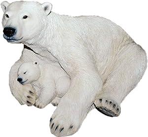 "Hotant Exotic Kingdom 10.5"" x 6"" Sitting Family Mama and Baby Cub Polar Bear Realistic Looking Figurine Statue"