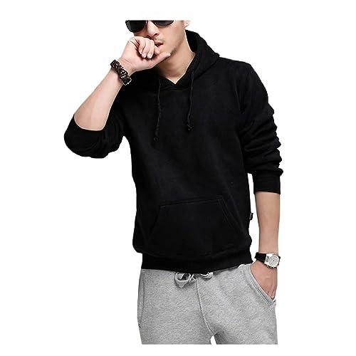Mens Fashion Plus Size Fleece Hoodies Casual Sweatshirt Sportwear