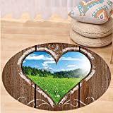 Niasjnfu Chen Custom carpetOuthouse Farm House Image From Print Wooden Plaques with Chalk Heart Art for Bedroom Living Room Dorm Light Brown Blue and Green